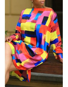 Lovely Casual Color Block Patchwork Multicolor Knee Length Dress