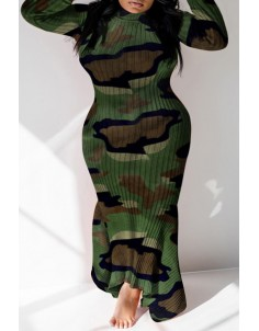 Lovely Casual Camouflage Printed Ankle Length Plus Size Dress