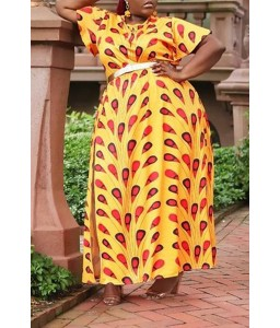 Lovely Bohemian Printed Side Split Croci Floor Length A Line Plus Size Dress