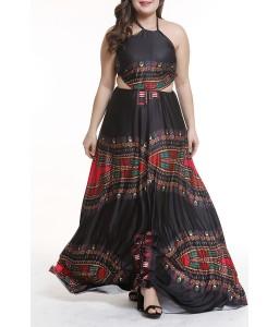 Lovely Bohemian Hollow-out Black Floor Length Plus Size Dress