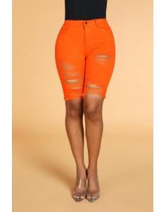 Lovely Casual Broken Holes Orange Shorts