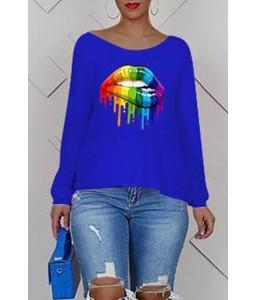 Lovely Casual Cross-over Design Printe Blue Sweatshirt Hoodie